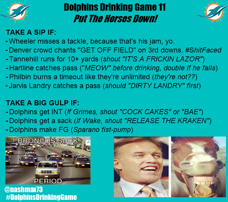 Dolphins Drinking Game Rules - Week 12